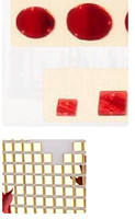 Sew On acrylic red rhinestones with holes,customized order plus 1000pcs of 1X1CM gold Square Mini Mirror sticker