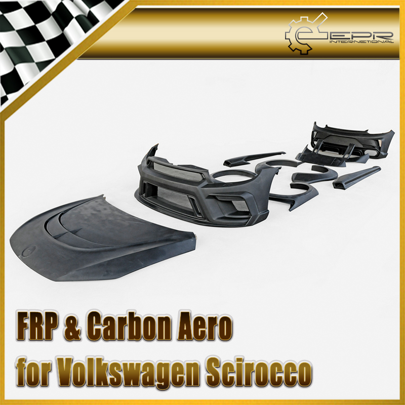 Car styling For VW Scirocco R FRP Fiber Glass AS style Full Wide Body Kit Fiberglass