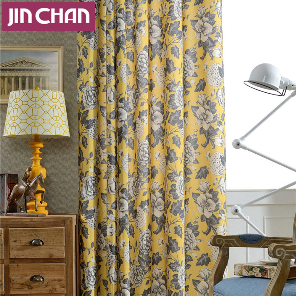 Flower Printed Yellow Blackout Window Curtains Drapes