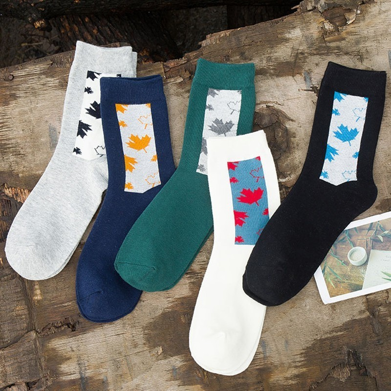 PEONFLY Ventilation Comfortable Maple Leaves Autumn Product Man Cotton happy funny novelty Socks colorful men 5PAIRS/LOT