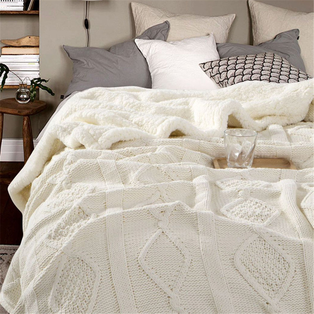 Chenille Lambs Thickening Knitted Blanket Double Layer Sherpa Plush Fleece for Beds Sofa Knitting Throw Blankets Bedspread Throw     - title=
