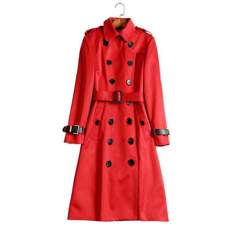 Pour Automne De Double Breasted Pardessus Trench vent Haute Coupe Femmes Style Coat Angleterre Qualité Red W108 Mode Long Élégant 8rxn4YqIrw