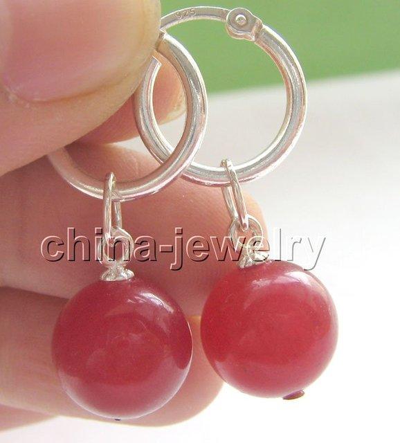 Pendientes de jade rojo - 925 aro de plata envío libre