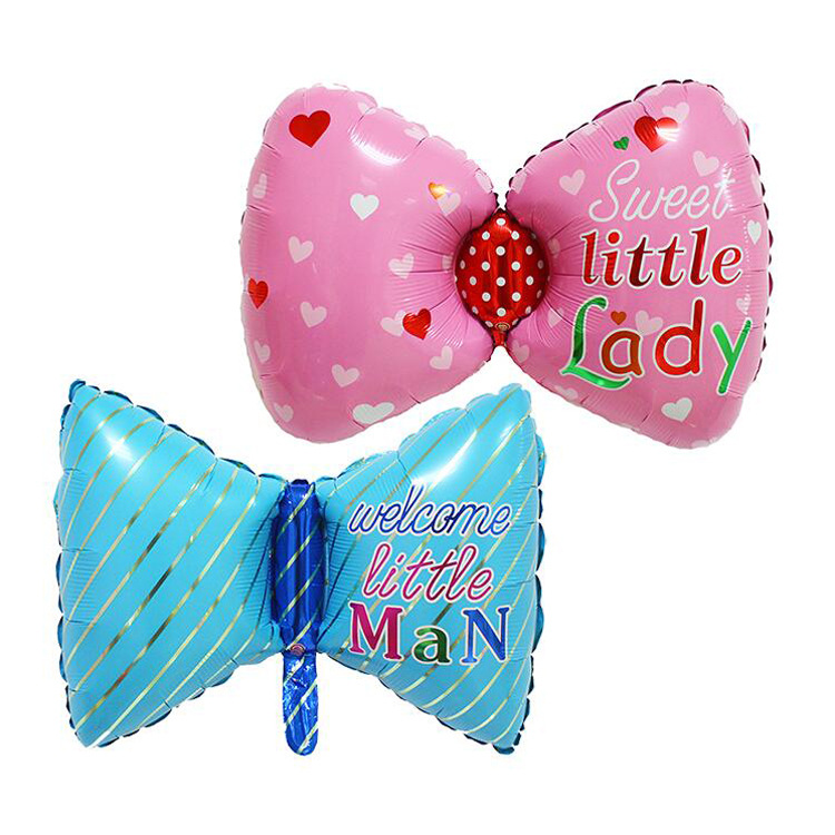 1PC 76X45cm Butterflies Bow Foil Balloon For New Born Little Girl Little Boy Baby Shower Party Decoration Birthday Air Balloons