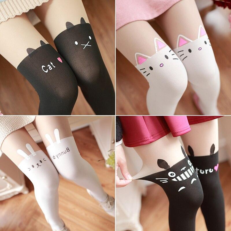 Cartoon Printing False High Stockings Cute Jfashion Girls Teens Stockings Spring Summer Pantyhose Harajuku Totoro Anime