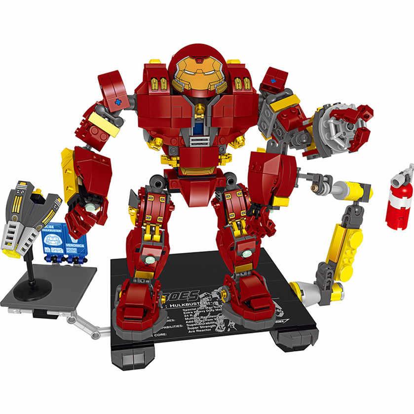 Новый Legoings Мстители 3 Железный человек Анти-Халк бронированный мех конструктор Набор игрушки Дети Подарки 2019 хорошее качество