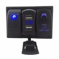Blue Led Rocker Switch Panel DC 12 24V Dual USB Car Charger with Voltmeter Roof Led Light Bar Rocker Switch