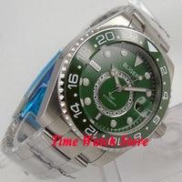 43 мм Синий Зеленый циферблат сапфировое стекло зеленый керамический ободок GMT индикатор автоматическое движение наручные часы Мужские час...