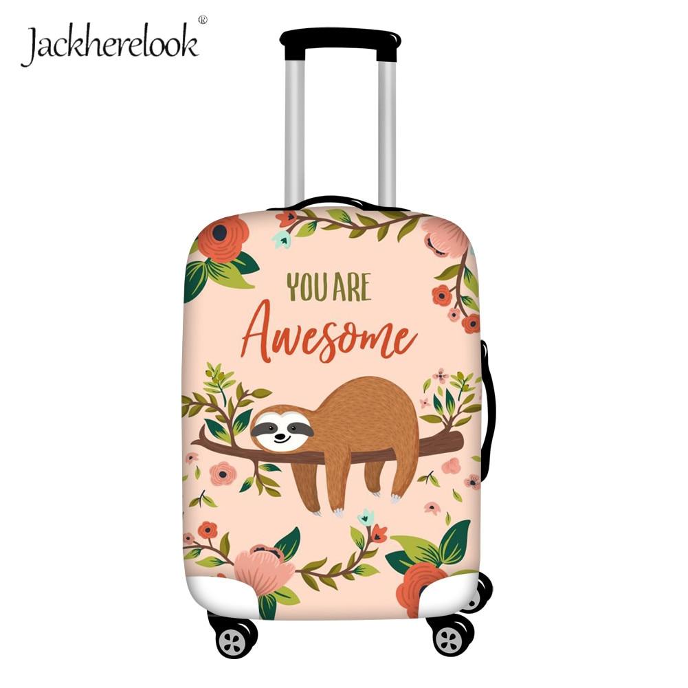 Jackherelook Cute Sloth Print Luggage Covers Suitcase Protective Waterproof Dustproof Elastic Zipper Cover Travel Accessories
