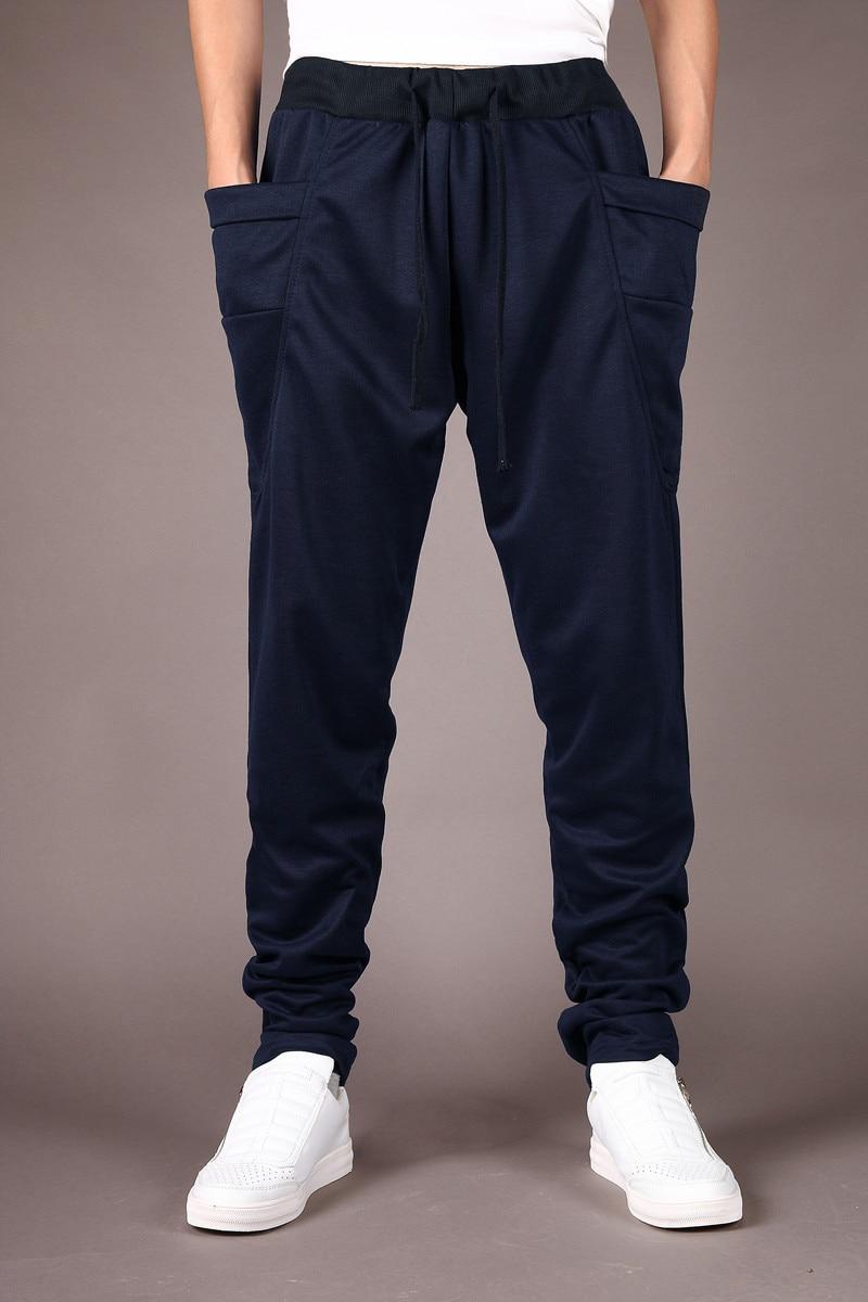 Штаны-шаровары Новые стильные модные повседневные обтягивающие спортивные штаны брюки с заниженным шаговым швом Мужские штаны для бега Sarouel - Цвет: navy blue