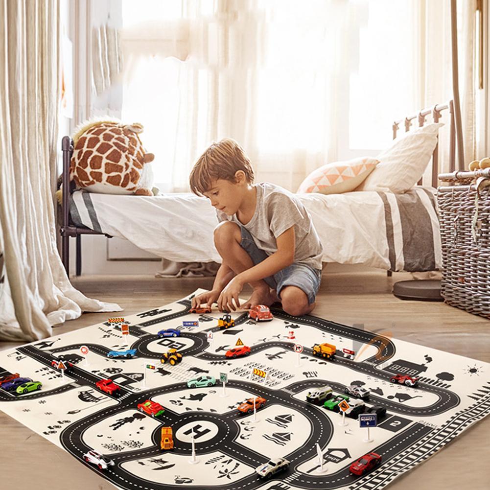 Al norte de estilo europeo coche escena de la ciudad, Taffic Mapa de la carretera Mat juguetes educativos para los niños gimnasio juegos camino alfombra