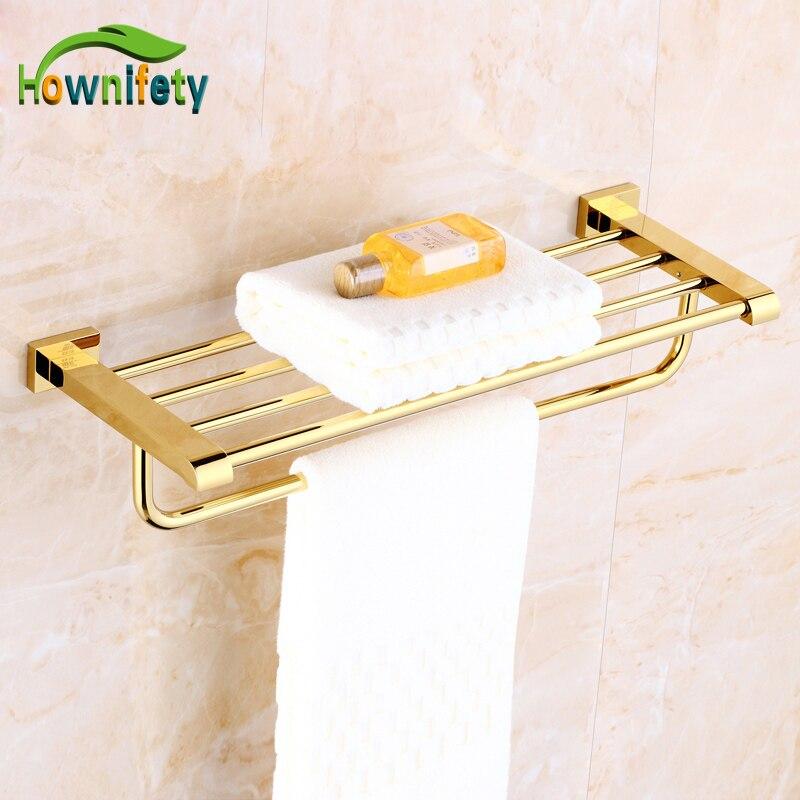 Luxury Gold Finish Bathroom Storage Shelf Dual Tiers Soild Brass Towel Rack