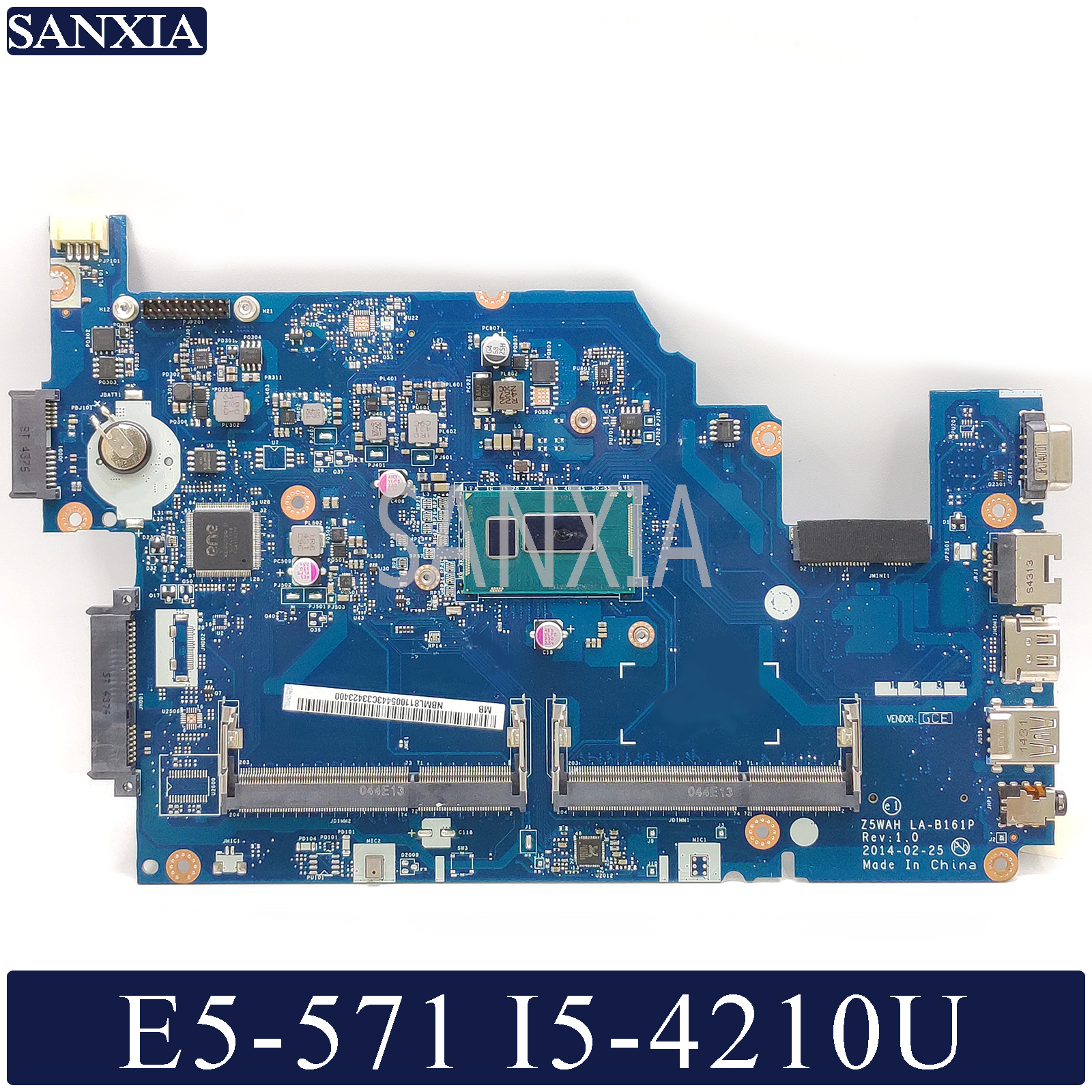 KEFU LA-B161P Laptop Motherboard For Acer E5-571 E5-571P Original Mainboard I5-4210U/4200U