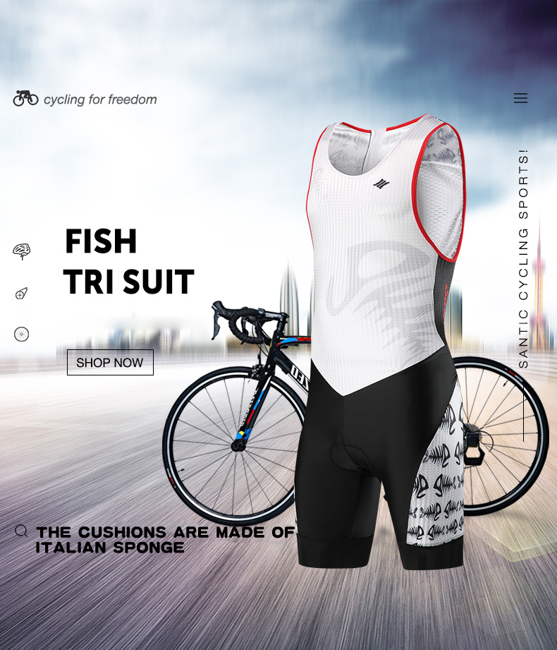 ⑤Santic Triathlon Cycling Jersey One-piece 4D Padded Cycling ... 9fa75698d