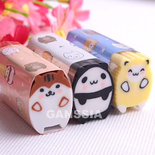 3pcs/lot New Style Cute Animal Series Eraser Fun Stationery Pencils Erasers Soft Escolar Stationery School Supplies (ss-1494)