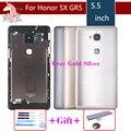 Оригинальный чехол для Huawei Honor 5X X5 GR5  задняя крышка корпуса  задняя дверь  чехол для батареи  панель  Замена с логотипом
