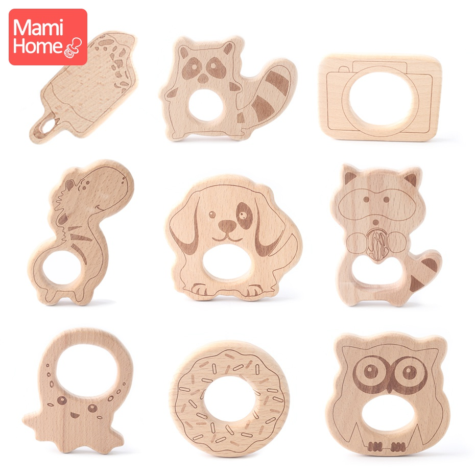 Mamihome 1pc Wooden Teether Wood Cartoon Animals Pendant For Pacifier Clip Teether For Teeth Wooden Raccoon Baby Teething Toys