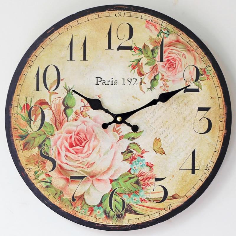 Paris 1921 Coloured drawing Rose Clocks Electronic Wood Wall Clock Nostalgia spring Home Decor