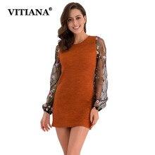 VITIANA Women Knitted Sweater Mini Dress Female Autumn Lace Long Sleeve Fitness Bodycon Slim Elegant Short