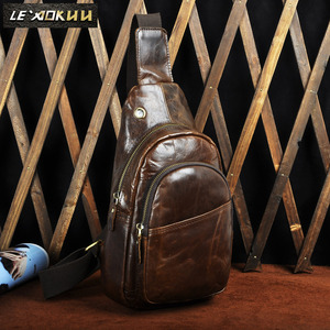 New Hot Sale Crazy Horse Leather Casual Chest Sling Bag Design Travel Daypack One Shoulder Bag Fashion Crossbody Bag Male 008c
