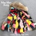 Maomaokong fox fur lining verde del ejército chaqueta de abrigo de invierno de las mujeres corto abrigo de piel real gran mapache cuello de Piel con capucha gruesa Parkas