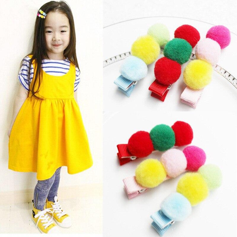 2pcs Handmade Wool Ball Princess Colorful Hair Accessories Hair Clip Flower Crown Hairpin Headbands for Girls Turbante 3