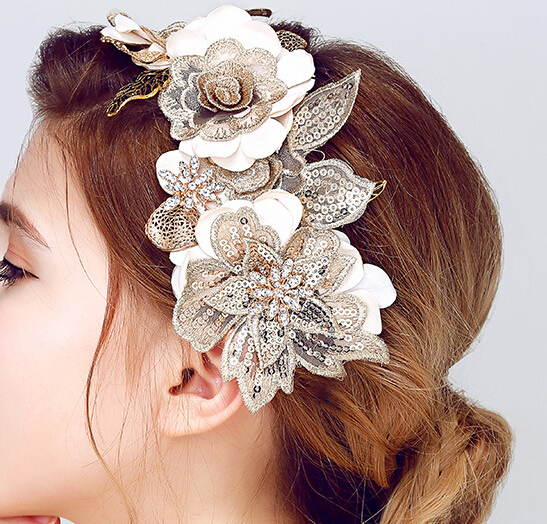 SLBRIDAL Handmade Lace Flower Gold Leaf Wedding HairBand Tiara Headband Bridal Headpiece Hair accessories Women Hair Jewelry цена
