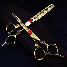 Japan Kasho 6 Inch High Quality Professional Hairdressing Scissors Set Hair Cutting Thinning Barber Shears Kit Salon Equipment цены