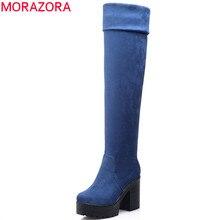 MORAZORA üç renk bayan botları bahar sonbahar platformu çizmeler kadın moda diz çizmeler üzerinde yüksek topuklu büyük boy 34 43