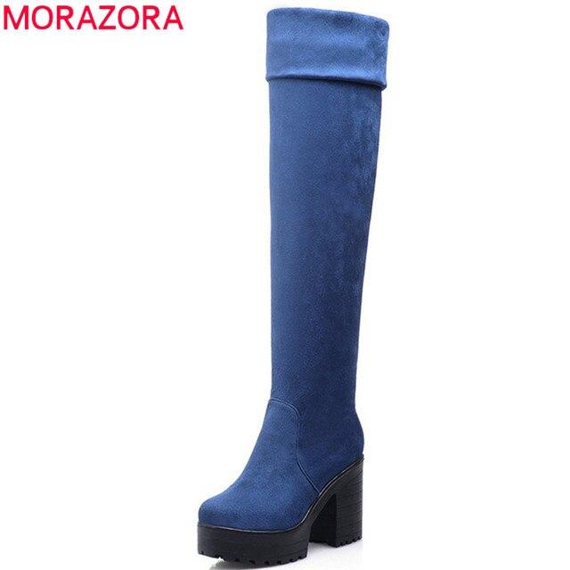 MORAZORA שלושה צבעים נשים מגפי אביב סתיו פלטפורמת מגפי אופנה על מגפי הברך עקבים גבוהים גדול גודל 34 43