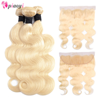 Brazilian Hair Weave Bundle Deals 613 Honey Blonde Body Wave Remy Human Hair Bundles With 13x4 Lace Frontal Closure