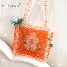 Pearls bag beaded flower box totes bag orange women girls ev