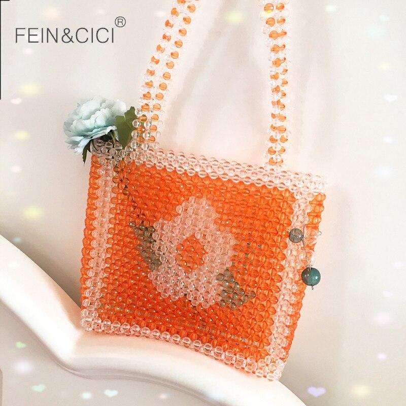 Perles sac perlé fleur boîte fourre-tout sac orange femmes filles soirée fête mignon sac à main 2019 été sacs de luxe marque livraison directe