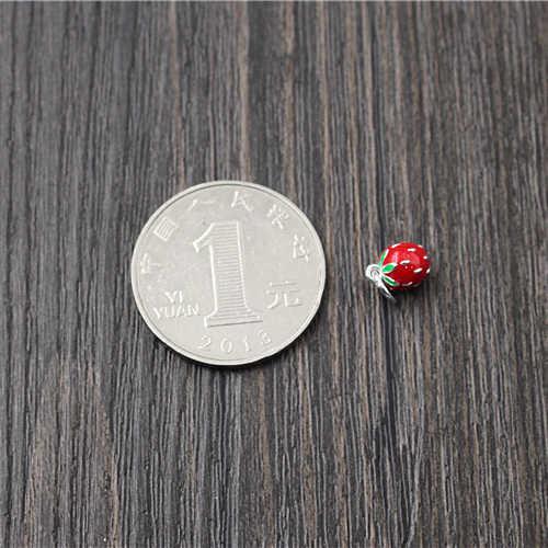 925 Perak DIY Temuan Perhiasan untuk Wanita Gelang DIY Aksesoris Lucu Manis Stereo Strawberry Liontin Pesona Perhiasan Enamel