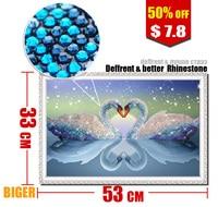 53x33cm Biger Cheap Diamond Embroidery Decoration 5d Diamond Painting Cross Stitch Swan Diamond Rhinestone Pasted Marriage