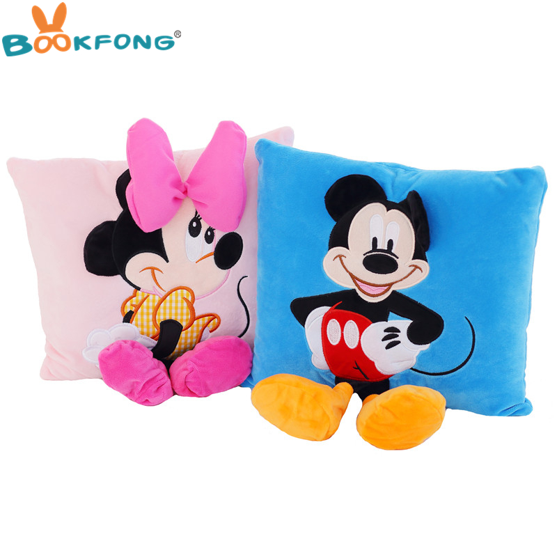 35cm 3D Mickey Mouse and Minnie Mouse Plush Pillow Kawaii Mickey Minnie Plush Toys Kids Birthday Gifts Home Sofa Decor 2015 new 1 piece 28cm 30cm mini lovely mickey mouse and minnie mouse stuffed soft plush toys christmas gifts