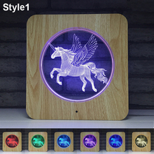 3D Unicorn LED Projector Night Light Multicolor RGB 7 Colors Changed Touch Lamp Home Decor Christmas Toys Gift for Kids