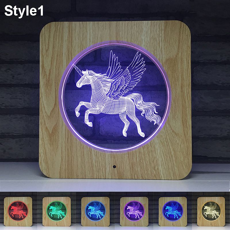 3D Unicorn LED Projector Night Light Multicolor RGB 7 Colors Changed Touch Night Lamp Home Decor Christmas Toys Gift for Kids