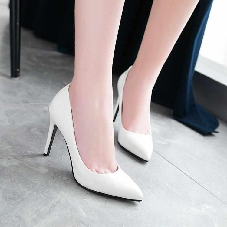 Talla grande 9 10 11 12 zapatos de tacón alto para mujer Zapatos de tacón alto con laca de punta Baja piel y tacón fino