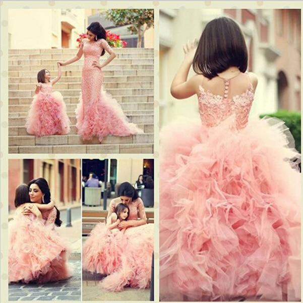 2017 Brand New Flower Girl Dresses Princess Ball Gown Party Pageant Communion Dress for Wedding Little Girls Kids/Children Dress
