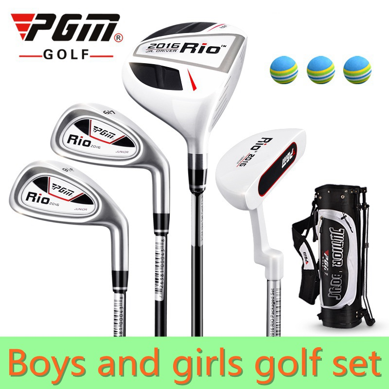 PGM 4-pieces Junior Golf Clubs Set with Bag for Kids Graphite Shaft. Better than steel shaft for kids. The safest kids golf sets free shipping pgm mens golf clubs complete set of graphite shaft with standard bag titanium alloy for rod