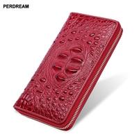 Genuine leather ladies purse crocodile pattern long purse men's clutch wallet women