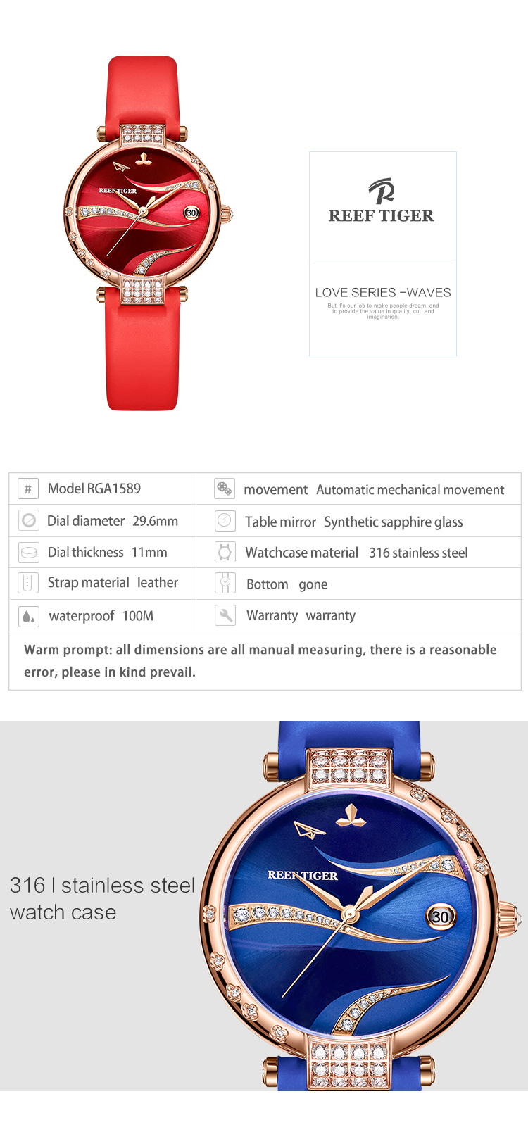 Reef Tiger/RT Women Fashion Rose Gold Case Stainless Steel Watch Analog Calendar Automatic Green Dial RGA1589 4