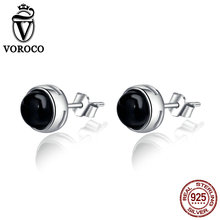 VOROCO Vintage Genuine 925 Sterling Silver Round Black Agate Stud Earrings for Women Vintage Jewelry S925 VSE031