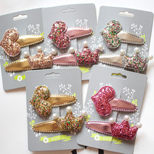 Top Quality Glitter Felt Kid Hair Clip Girls Synthetic PU Leather Grip Prince Barrette Floral Accessory