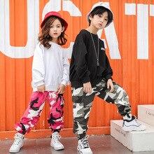 Детская одежда в стиле хип-хоп Повседневная рубашка, Толстовка Топ, камуфляжные штаны для девочек и мальчиков, костюм для джазовых танцев Одежда для бальных танцев