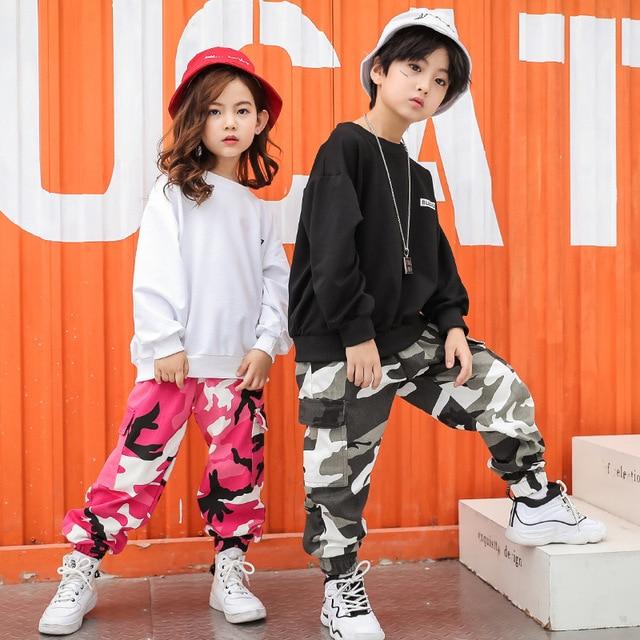 Kid Hip Hop camisa Casual ropa sudadera camuflaje pantalones para niñas  niño traje de la Danza 5bd533c4ac9