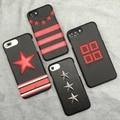 Luxury Brand Givency Logo Case Stripe Pentagram Genuine Leather Phone Case For iphone 7 Plus 6 6S Plus Rivet Cases Capa
