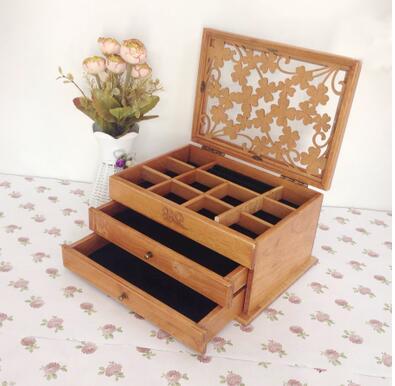 Novo trevo de três camadas organizador caixas de jóias de madeira Caixa de Armazenamento de madeira caixa de jóias de madeira Europeu oferta especial desk organizer