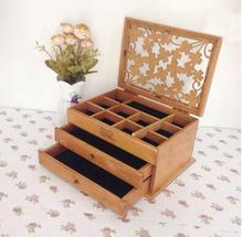 new three layer organizer wood jewelry boxes Storage Box wood clover European wooden jewelry box special offer desk organizer